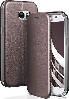 ONEFLOW Handyhülle kompatibel mit Samsung Galaxy S7   Hülle klappbar, Handytasche mit Kartenfach, Flip Case Call Funktion, Klapphülle in Leder Optik, Taupe