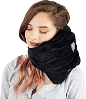Theraplume Travel Pillow: Premium Memory Foam Scarf Pillow with Ultra Plush Cover - Comfortable Breathable Machine Washable Adjustable Neck, Head and Chin Support with Bag
