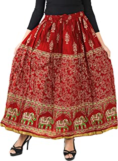VOXVIDHAM Skirt Women's Cotton Fancy Design Elephant Block Print (Goldish) Skirts with Elastic & Knote in Free Size