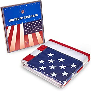 AMAPON American US Flag 3x5 Ft, 100% Made in USA,Embroidered Stars and Brass Grommets,All Weather Tough Durable Fade Resistant,4 Rows of Lock Stitching
