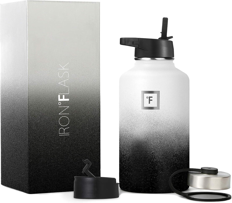 Iron Flask Sports Water Bottle - 64 Lid Vacuu 5 ☆ very popular Straw 3 Tampa Mall Oz Lids