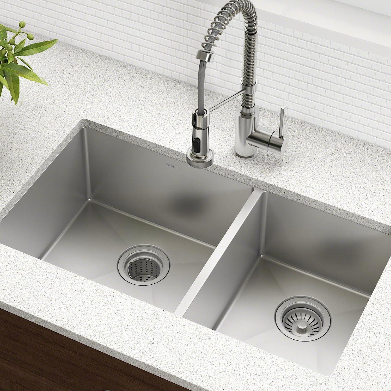 Buy Kraus Standard Pro 33 Inch 16 Gauge Undermount 60 40 Double Bowl Stainless Steel Kitchen Sink Khu103 33 Online In Japan B0032c411c