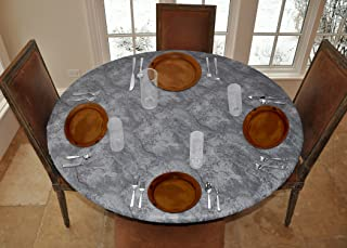 "LAMINET Elite Elastic Edged Print Table Pad - Marble Grey - Large Round - Fits Tables up to 45"" - 56"" Diameter - The Ultim..."
