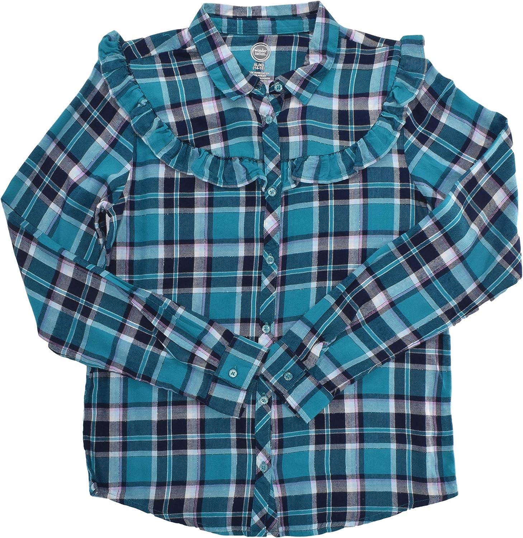 Wonder Nation Max 89% OFF Girls Flannel Aqua Ruffle Shirt Deep Challenge the lowest price of Japan ☆