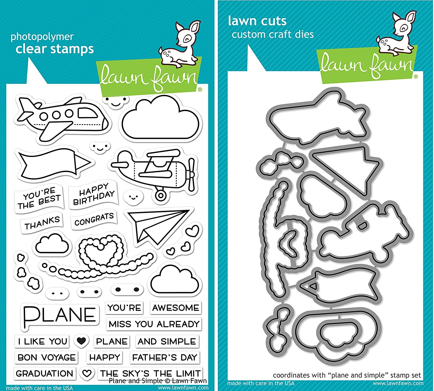 Lawn Fawn Plane and Simple Stamp and Die Bundle (LF1409) and (LF1410) jhcs2635141