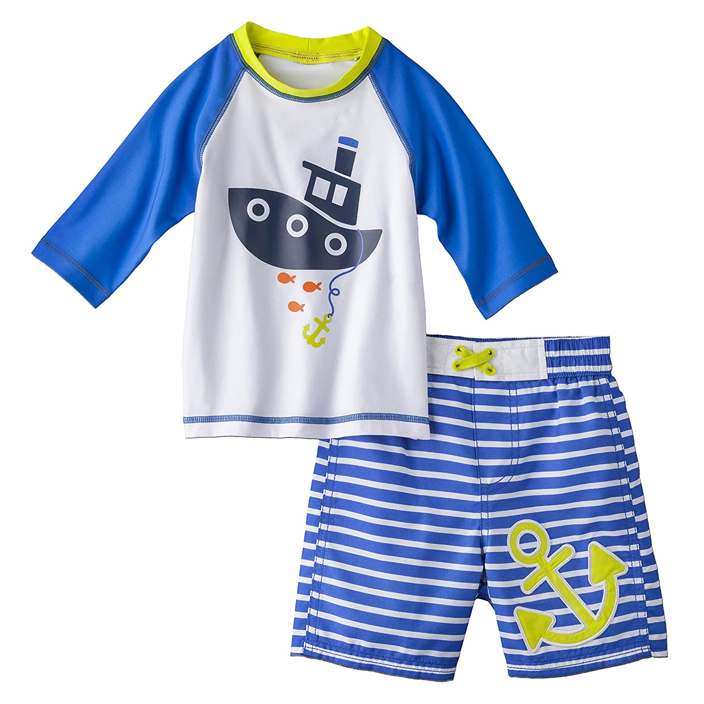 Just One You by Carter 's Little Boy 'sラッシュガードとSwim Trunks Set?–?ホワイト&ブルー