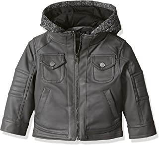 Urban Republic Baby Boys Texture Faux Leather Jacket Patch Pocket Sleeve