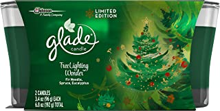 Glade Jar Candle Air Freshener, Christmas Holiday Tree Lighting Wonder, 2 candles, 6.8 Ounce (Limited Edition)