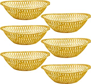 "IMPRESSIVE CREATIONS Small Plastic Gold Bread Baskets - 6 Pack Reusable 8"" Oval Food Storage Basket - Elegant Modern Décor for Kitchen, Restaurant, Centerpiece Display"