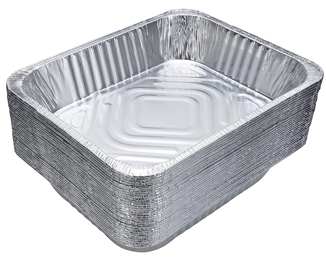 DOBI Aluminum Pans (30-Pack) - Disposable Aluminum Foil Steam Table Deep Pans, Half Size Chafing Pans - 12 1/2