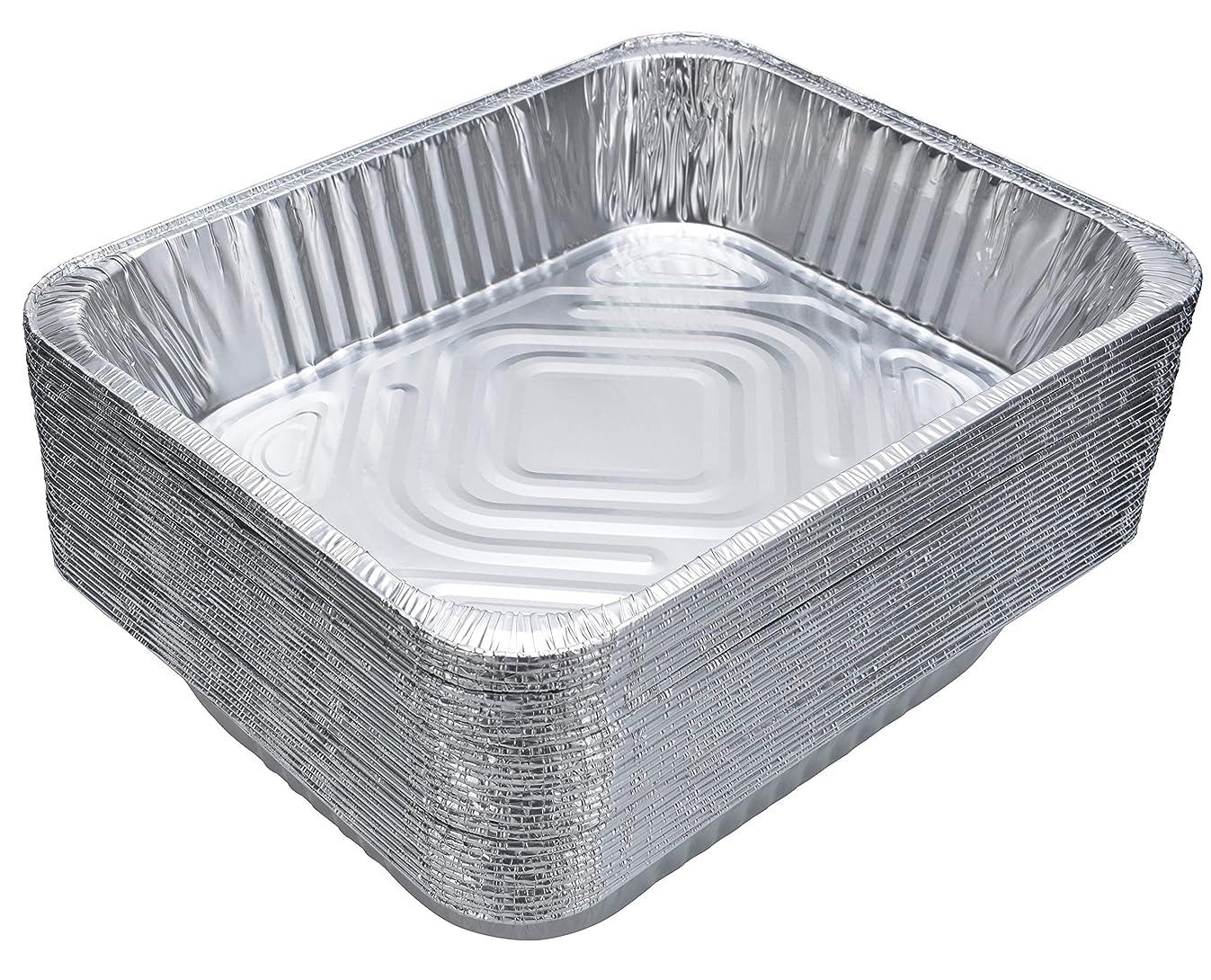 DOBI Aluminum Pans (30-Pack) - Disposable Aluminum Foil Steam Table Deep Pans, Half Size Chafing Pans - 12 1/2