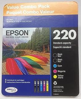 EPSON 220 Value Combo Pack ~ 2 Black, 1 Cyan, 1 Magenta, 1 Yellow Ink Cartridges