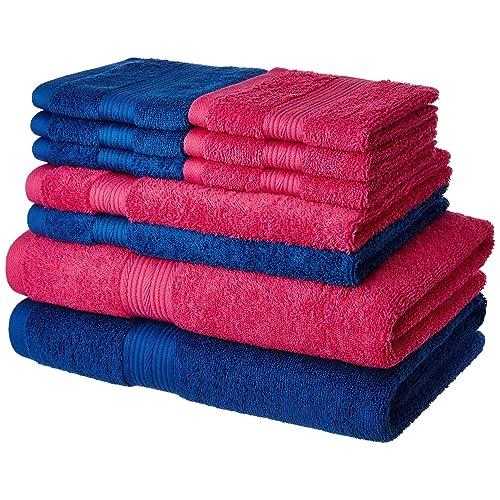 Amazon Brand - Solimo 100% Cotton 10 Piece Towel Set, 500 GSM (Iris Blue and Paradise Pink)