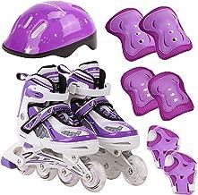 Kids Inline Adjustable Skates 6 PCS Beginer Set Safe Protective Pack Durable Safe Outdoor Light Up Wheels