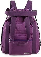 Crest Design Water Repellent Nylon Multipurpose Daypack Backpack Crossbody Shoulder Bag Handbag (Large, Violet Red)
