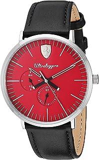 Ferrari Men's 'Ultraleggero' Quartz Stainless Steel and Leather Watch, Color:Black (Model: 0830567)