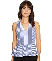 Ivanka Trump - Vertical Striped V-Neck Cotton Peplum