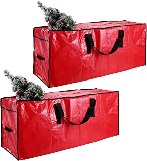 """Joiedomi Christmas Tree Storage Bag Set (2 Pack) – Fits up to 7.5 ft Disassembled Artificial Christmas Tree, Durable Waterproof Material with Carry Handles and Zippered Closure 48"""" x 15"""" x 20"""" (Red)"""