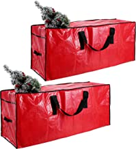 "Joiedomi Christmas Tree Storage Bag Set (2 Pack) – Fits up to 7.5 ft Disassembled Artificial Christmas Tree, Durable Waterproof Material with Carry Handles and Zippered Closure 48"" x 15"" x 20"" (Red)"