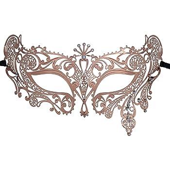 metal Medium M/áscara Veneciana de metal de fiesta con brillantes oro rosa