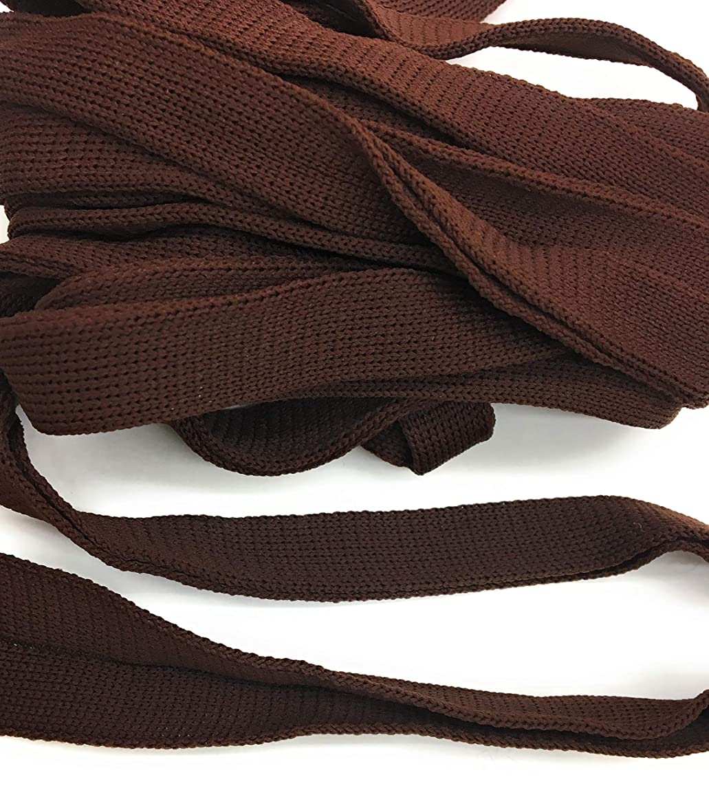 Brown FOLD Over -Knit- Braid Polyester Ribbon Trim 5 Yds Foldover