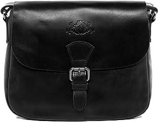 SID & VAIN Schultertasche echt Leder Yale Handtasche Schultergurt Umhängetasche Ledertasche Damen schwarz