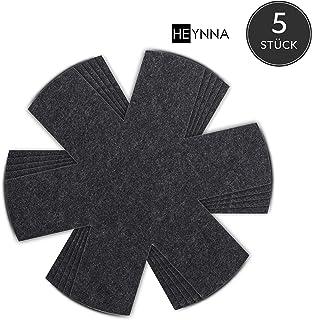 HEYNNA - Protector de sartén - Juego de 5 - Hecho de fieltro para sartenes y ollas - Protección de apilamiento también como protector de olla - Protector de sartén de 32 cm, negro