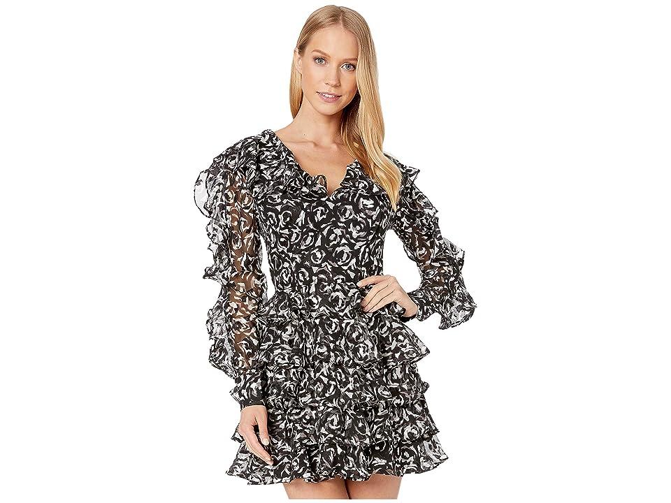 Bebe Estelle Ruffle Dress (Black/White Rose) Women
