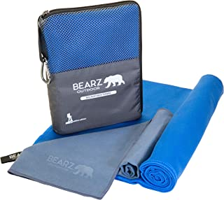 featured product BEARZ Outdoor Quick Dry Microfiber Towel. 2 Pack Camping Travel Towel, Hiking Gear. Ultra Absorbent Beach, Workout and Gym Towels. Microfiber Towels for Body. (Standard Set)