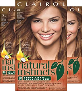Clairol Natural Instincts Semi-Permanent Hair Dye,7G Dark Golden Blonde Hair Color, 3 Count