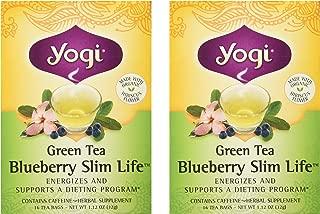 Yogi Tea Green Tea, Blueberry Slim Life 16 bags (Pack of 2)