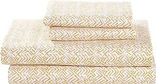 Rivet Boomerang Sateen 100% Cotton Bed Sheet Set, Queen, Rattan Yellow