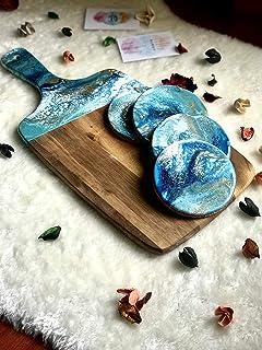 Tabla de cortar de mármol, azul, turquesa, blanco y oro de resina 42 o 32 cm