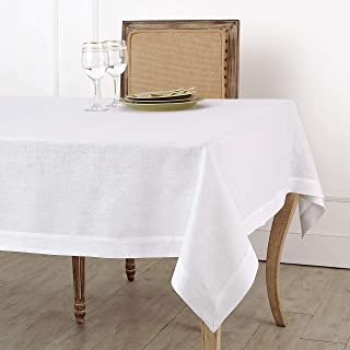 Solino Home 100% Linen Tablecloth - 36 x 36 Inch White, European Flax, Natural Fabric - Athena Square Tablecloth for Indoor & Outdoor use
