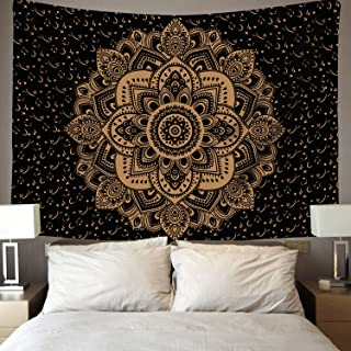 Popular Launched Mandala Tapestry Hippie Tapestries Mandala Bohemian Tapestry Gypsy Tapestry Indian Mandala Wall Tapestry for Bedroom Dorm Decor Wall Hanging (51.2 x 59.1 Inch, Black Gold)
