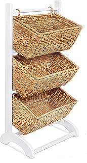 BIRDROCK HOME 3 Tier Abaca Storage Cubby (Natural) - 3 Baskets Made of Durable Seagrass Fiber - Solid Wood Frame - Child Pet Dog Toy Food Storage Organizer Shelf - Kitchen Vertical Rack Unit Stand