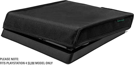 Playstation 4 Slim Model Dust Cover by Foamy Lizard – THE ORIGINAL MADE IN U.S.A. TexoShield (TM) premium ultra fine soft velvet lining nylon dust guard with back cable port (Horizontal)