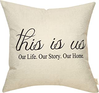 Fjfz Rustic Farmhouse Decor This is Us, Our Life Our Story Our Home Family Sign Decoration Housewarming Gift Cotton Linen Home Decorative Throw Pillow Case Cushion Cover for Sofa Couch, 18