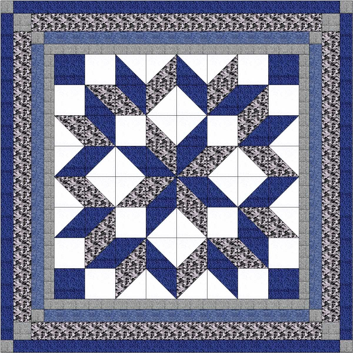 Easy Quilt Kit Carpenters Max Today's only 74% OFF Wheel Camo-Expedit Black and Gray Blue