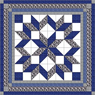 Easy Quilt Kit Carpenters Wheel/ Blue/Black and Gray Camo-Expedited Shipping
