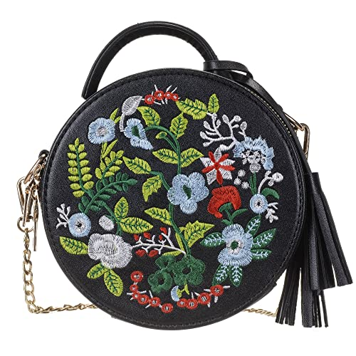 1ec50a0fca163a Women's Ethnic Style Embroidered Round Crossbody Shoulder Bag Top Handle  Tote Handbag Bag