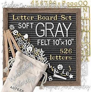 Arteza Cartel de letras intercambiables, pizarra de fieltro gris (25,4x25,4 cm), con 526 letras, 164 símbolos, 33 palabras...