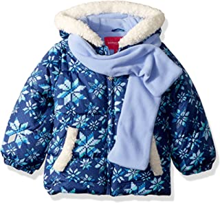 Girls' Puffer Jacket with Scarf & Hat