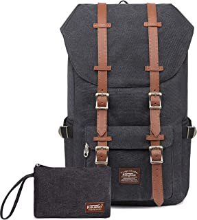 """Laptop Outdoor Backpack, Travel Hiking& Camping Rucksack Pack, Casual Large College School Daypack, Shoulder Book Bags Back Fits 15"""" Laptop & Tablets by Kaukko (Canvas Black(2pcs))"""
