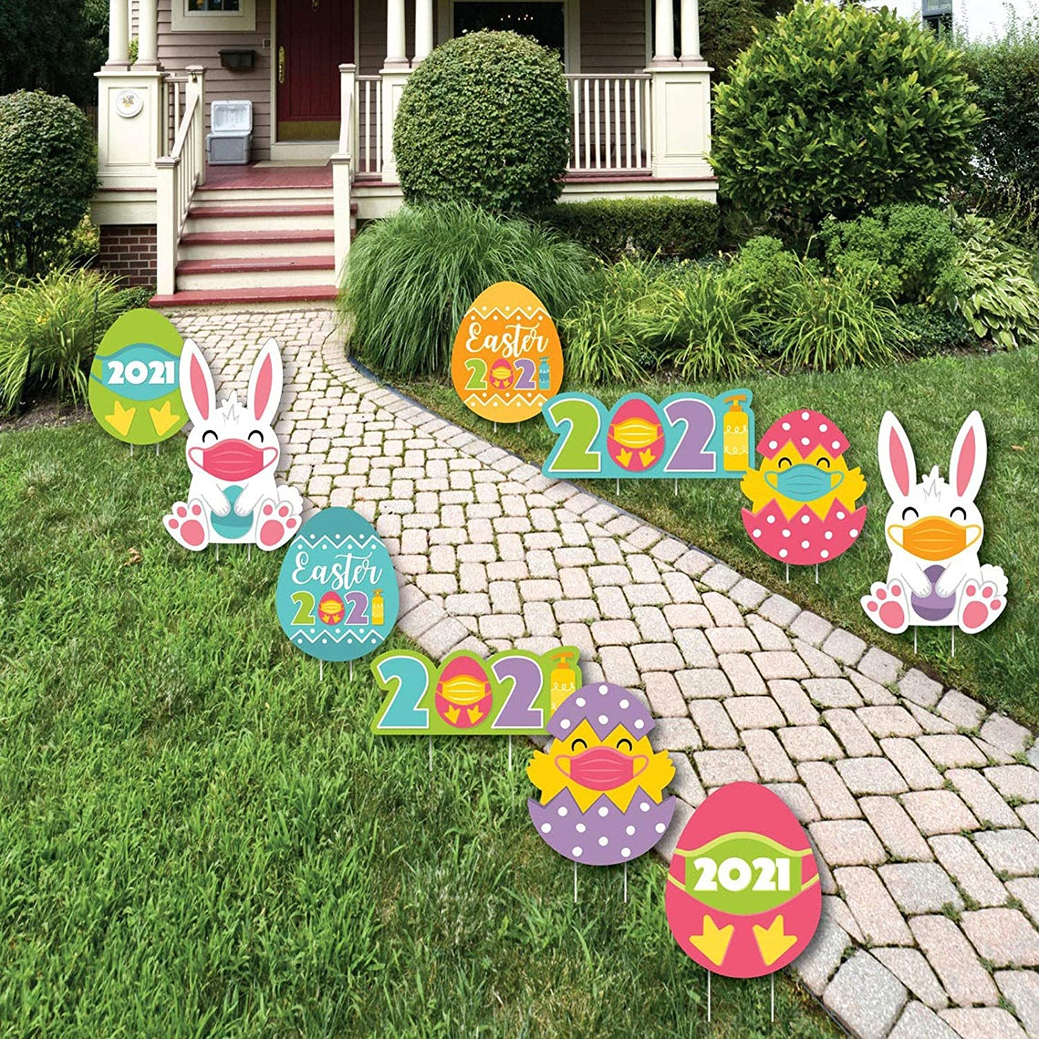 10PCS Easter Yard Finally popular brand Signs Decorations Outdoor Eggs Miami Mall Sta Bunny