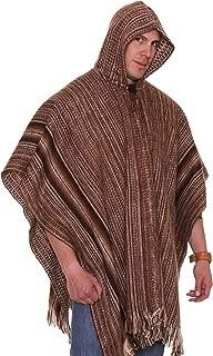 Gamboa - Hooded Alpaca Poncho - Poncho for Men - Genuine Alpaca - Handmade in Peru - Brown Poncho - Extra Warm