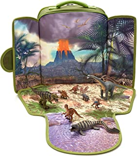 MOJO Dinosaur Backpack Playset 8 Dinosaur Figurines: T-Rex, Velociraptor x 2, Brachiosaurus, Stegosaurus, Triceratops, Parasaurolophus Tylosaurus