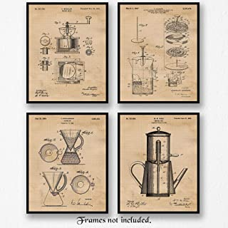 Original Coffee Essentials Patent Art Poster Prints, Set of 4 (8x10) Unframed Photos, Great Wall Art Decor Gifts Under 20 for Home, Office, Man Cave, Garage, Cabin, Student, Teacher, Barista, Joes Fan