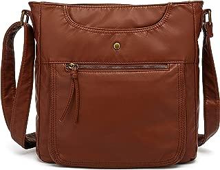 Crossbody Shoulder Bag for Women, Ultra Soft Washed Vegan Leather, H1812
