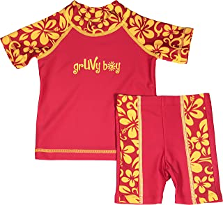 grUVywear Baby Boy Rash Guard Set - UV Shirt and Shorts - Sun Protective Swimwear